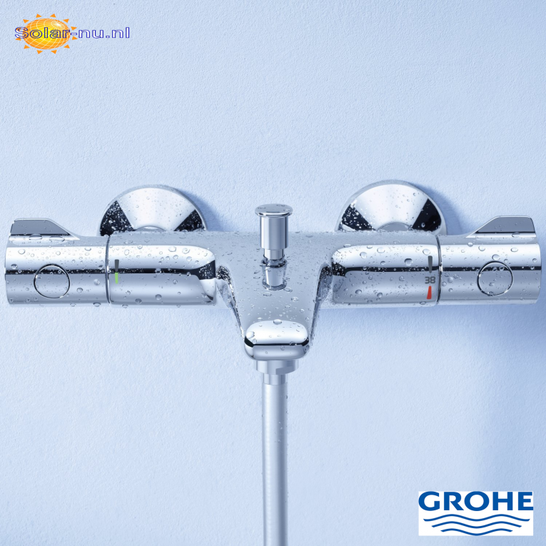 Grohe grohtherm 800 badthermostaat met omstel koppelingen chroom warmwater comfort solar - Grohe grohtherm 800 ...