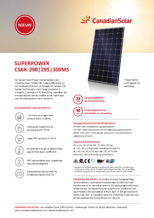 Canadian Solar CS6K-295MS Black