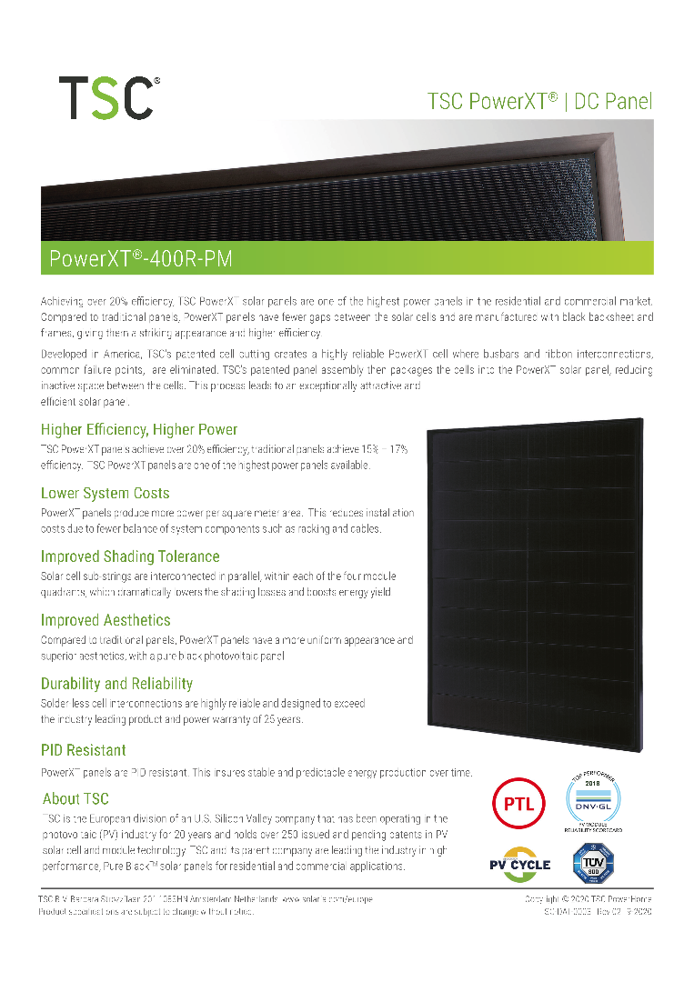 TSC 400R-PM PowerXT  TSC high-performance solar module black
